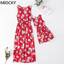 Family Matching Outfits Dress Sleeveless Print Summer Over Knee Dress Summer Mom and Daughter Dress Mommy and me clothes E0207 недорого