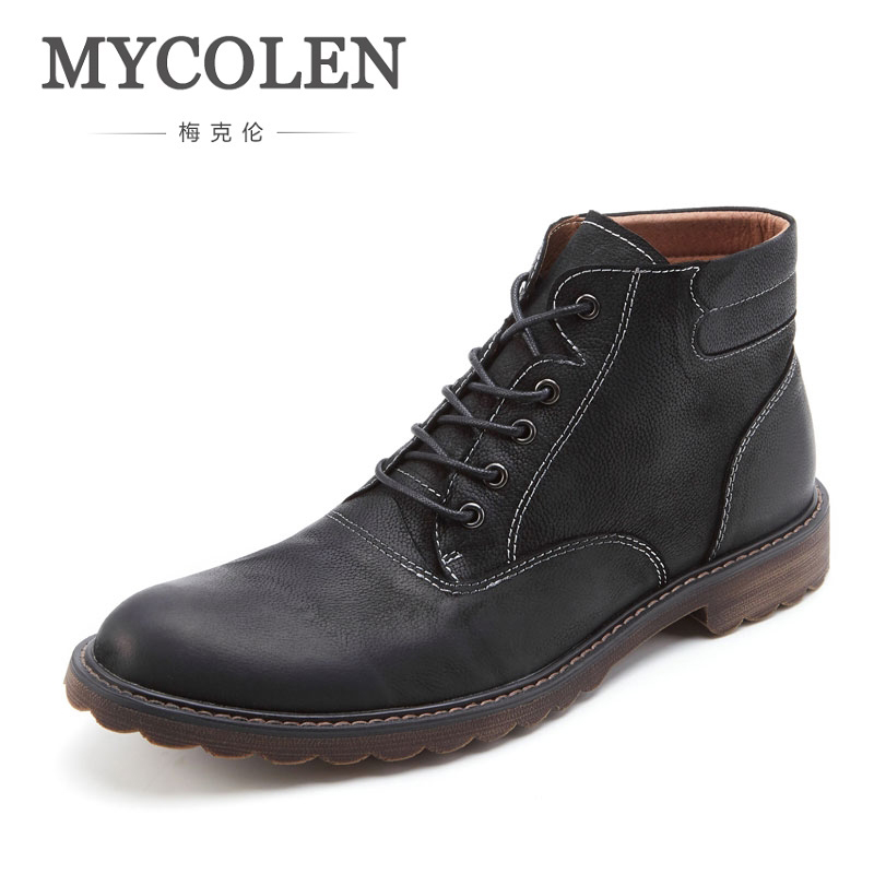 MYCOLEN Winter Warm Genuine Leather Luxury Brand Men Winter Boots Casual Short Ankle Boots Shoes Classic Lace-Up Male Boots cangma original luxury man s boots casual shoes ankle boots brand sneakers men lace up patent genuine leather male silver shoes