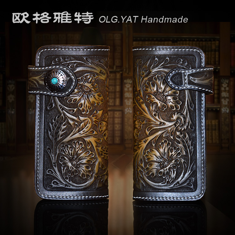 OLG.YAT handmade women wallets Italian Vegetable tanned leather wallet womes Arabesque Flowers bags long hasp handbag retro pure olg yat handmade women wallet flowers handbag vegetable tanned leather wallets long zipper bags women purse pure cowhide retro