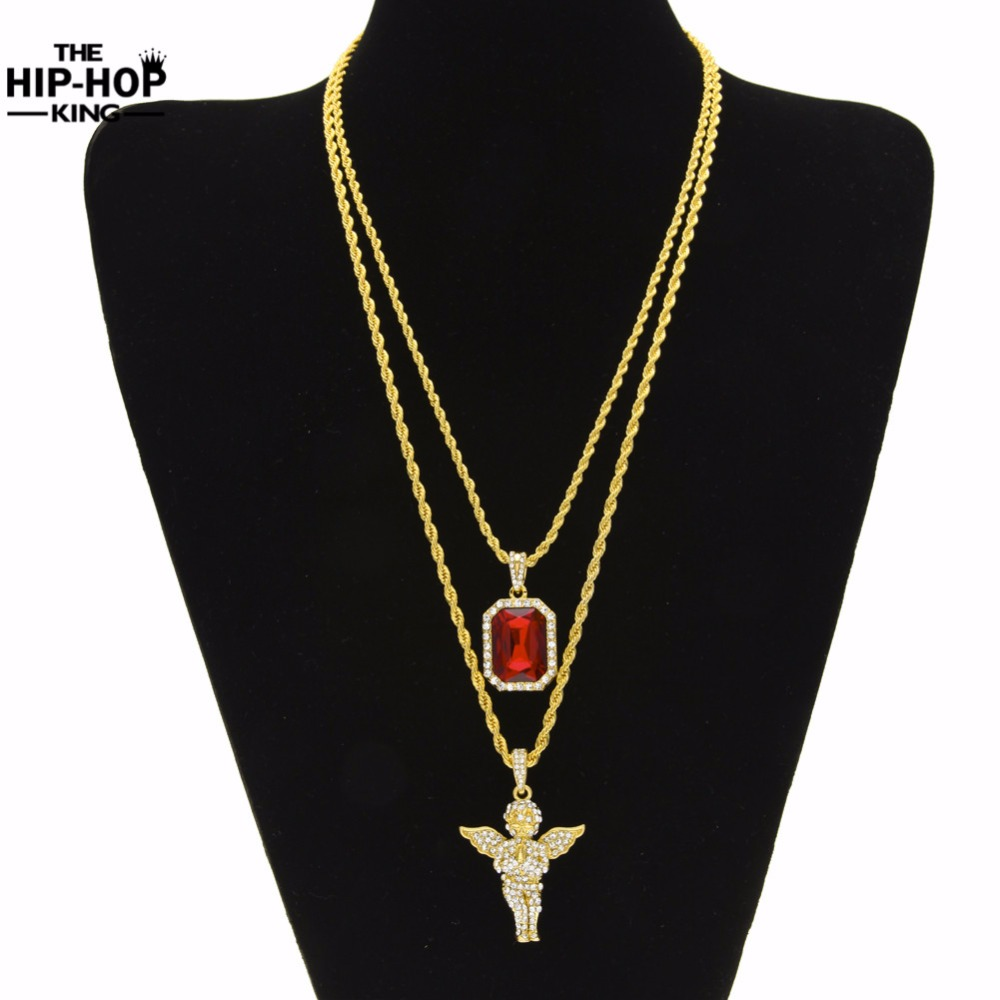 Mens Hip Hop Iced Out Rhinestone Pendant Necklace Set Micro Angel Jesus Wing Praying Hand Pendant