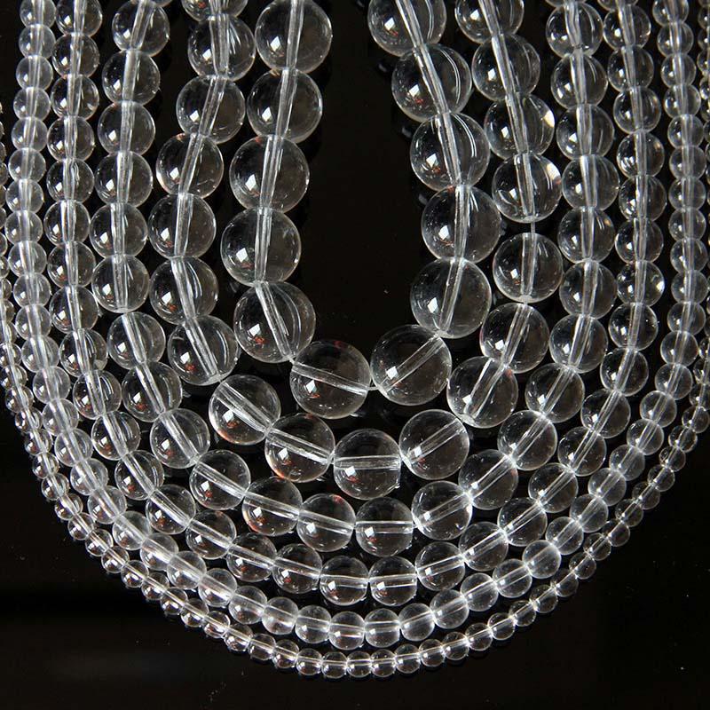 1 прядь Натуральный камень Ясно Quartzs хрустальный шарик круглый 4 6 10 12 14 мм AAA Класс застекленной шарики прокладки для DIY ювелирных изделий