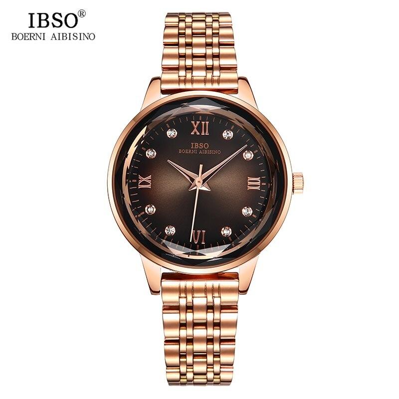 IBSO Brand Women s Quartz Watches Fashion Luxury Round Rhinestone Rose Gold Watch for Ladies Stainless