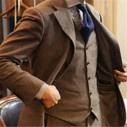 Коричневый твид мужской костюм последние конструкции пальто брюки 3 Piecse (куртка + брюки + жилет + галстук) Slim Fit индивидуальный заказ жениха