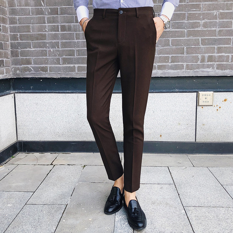 2018 Autumn Winter Men Pants Slim Fit Solid Suit Pant Man High Quality Korean Style Trousers Black Coffee Gray Casual Pants Men
