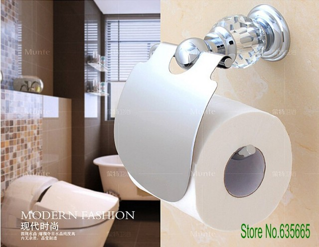 Mode décoration en cristal de luxe en laiton chromé de toilette ...