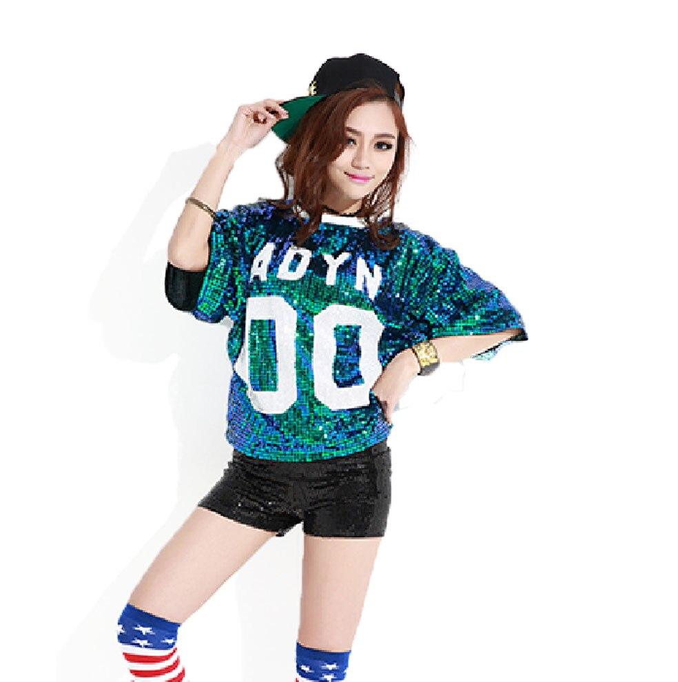 Mujeres hip hop camiseta lentejuelas Tops Kylie Labios Jazz Performance  Apparel ropa poleras de mujer moda 2018 camiseta divertida en Camisetas de  La ropa ... 034225e47a2