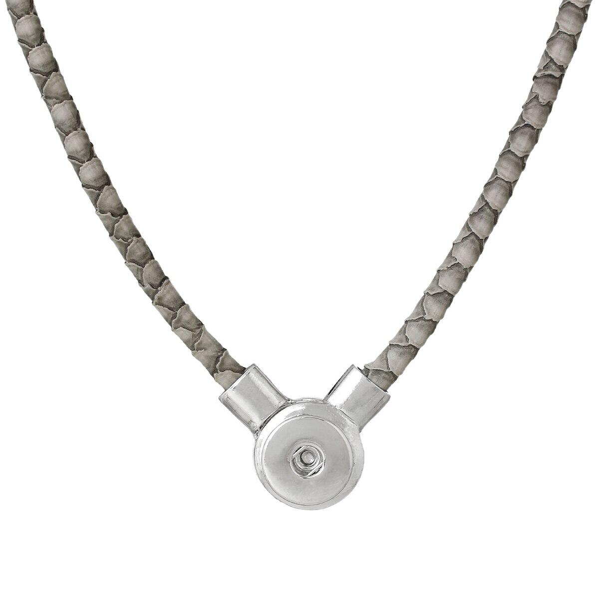 "8SEASONS PU Fashion Snap Jewelry Necklace Gray Silver Tone 50cm x2.3cm(<font><b>19</b></font> 5/<font><b>8</b></font>"" <font><b>x</b></font> <font><b>7</b></font>/<font><b>8</b></font>""),Snap Charm Hole Size: 6mm,1 PC"