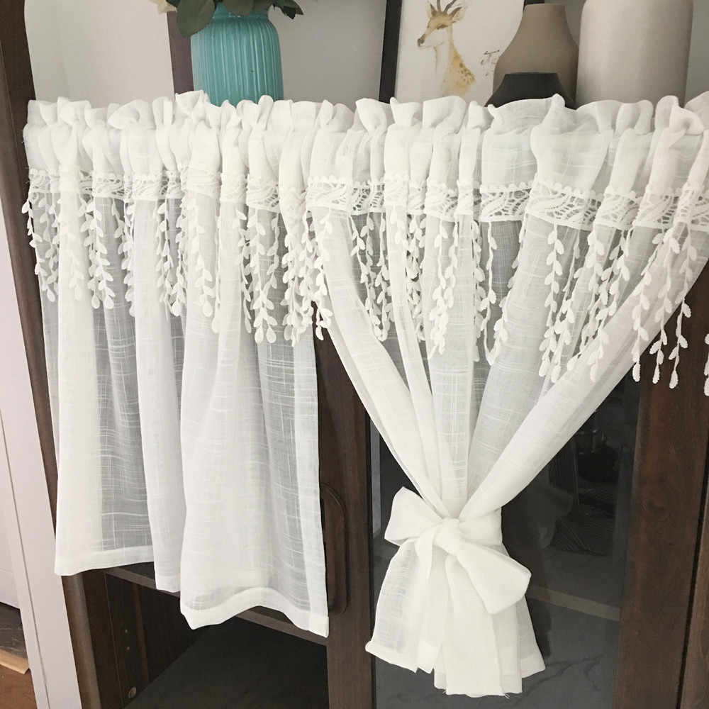 White Half Curtain Willow Leaf Water Soluble Lace Coffee Yarn Pure Short Curtain for Bar Kitchen Cabinet Door Children's Room