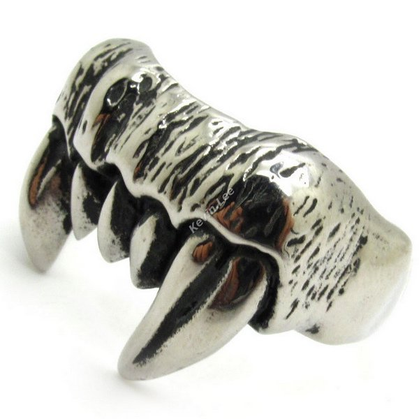 Gothic Sharp Monster Teeth Ring, Best Price Nice Gift, Punk Man Jewelry, 316L Stainless Steel Rock Band Party Ring