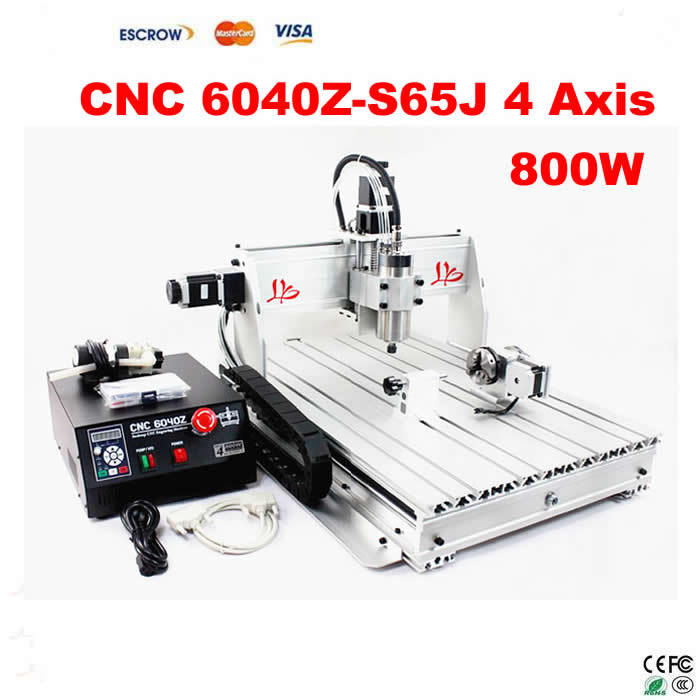 4 Axis CNC Router 6040 Z-S65J milling machine with 800W VFD spindle, rotary axis for 3d cnc free shipping 4 axis cnc router 6040 z s 3d cnc stone sculpture machine with limit switch 800w water cooled spindle low cost