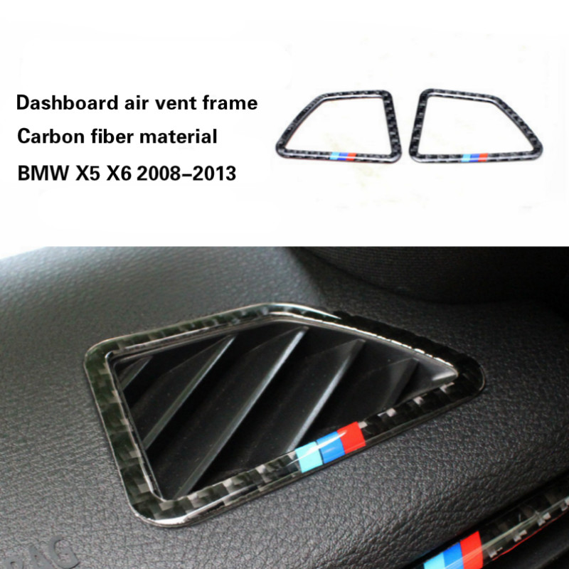 Carbon fiber Front Dashboard Air Vent Outlet Frame Cover Trim Sticker For BMW X5 X6 epr car styling for nissan 370z z34 frp fiber glass front bumper air duct set fiberglass air vent accessories racing trim