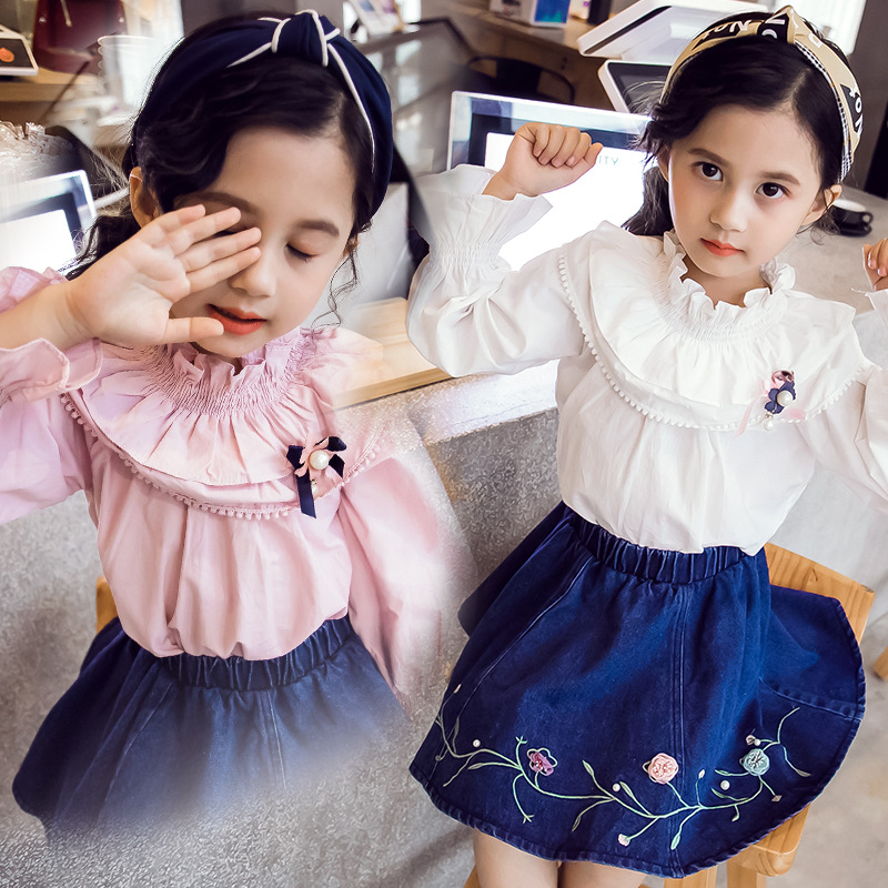 Fashion New Baby Girls Clothing Set Long Sleeve Cute Blouse Shirt Tops+embroidery Denim Skirt Two Pieces Children Clothes CA240 2018 girl summer sets new children s skirt 2pcs college chiffon clothing set white half sleeve blouse black long skirts suits