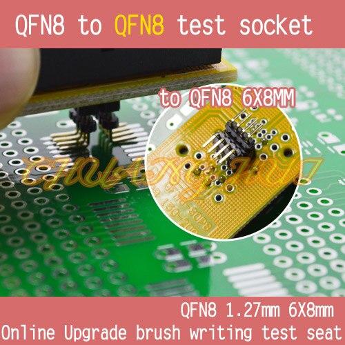 IC TEST 6x8mm QFN8 to 6x8mm QFN8 test socket DFN8 WSON8 MLF8 to SOP8 socket Pitch=1.27mm