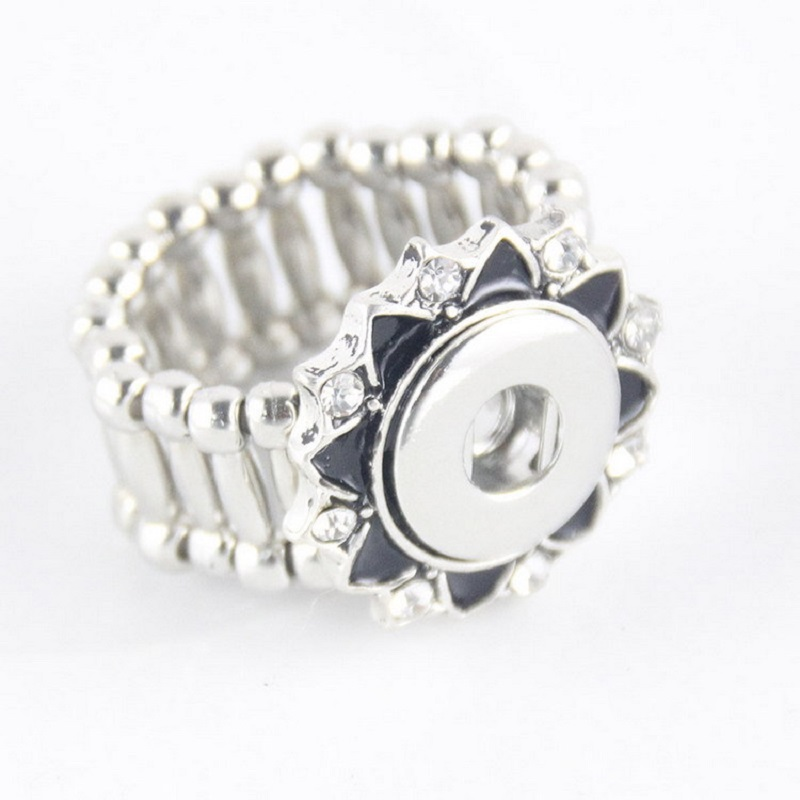 10pcs adjustable flower 12mm snap button ring for buttons jewelry image