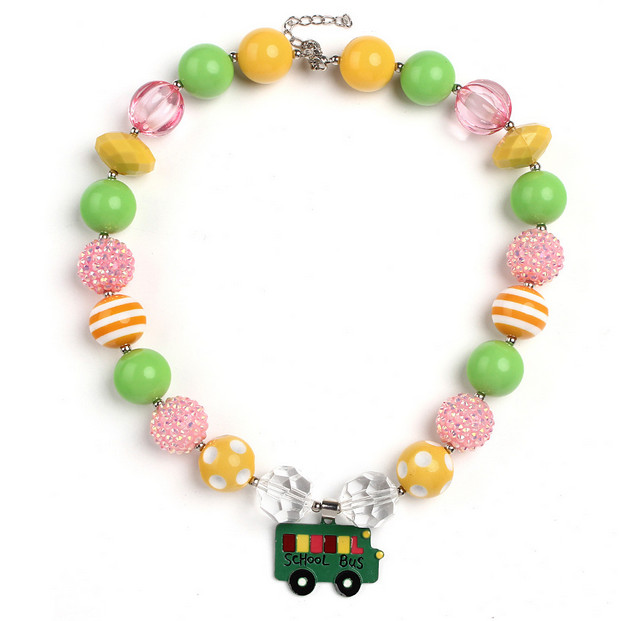 2pcs New Arrival Chunky Bubble Gum Necklace Green School