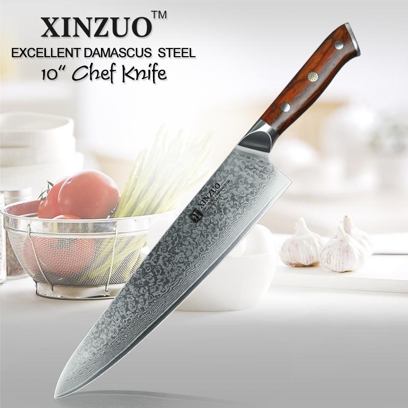 XINZUO 10 pouce Couteau de Chef Japonais Damas Couteau de Cuisine En Acier Professionnel Gyuto Cleaver Couteaux de Cuisine Outil Rosewood Poignée