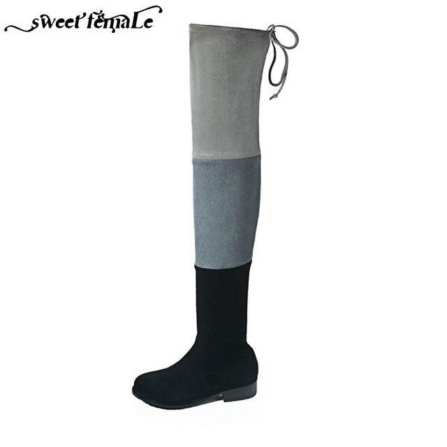 7d4108708140 Милые женские Осень Зима Цвет шить эластичные Ботфорты Ботинки с высоким  голенищем Для женщин обувь из