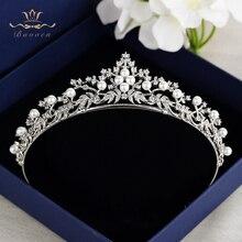 Bavoen Fashion Pearls Zircon Leaves Brides Brides Crown Tiara Silver Crystal Hairbands Evening Hair Accessories