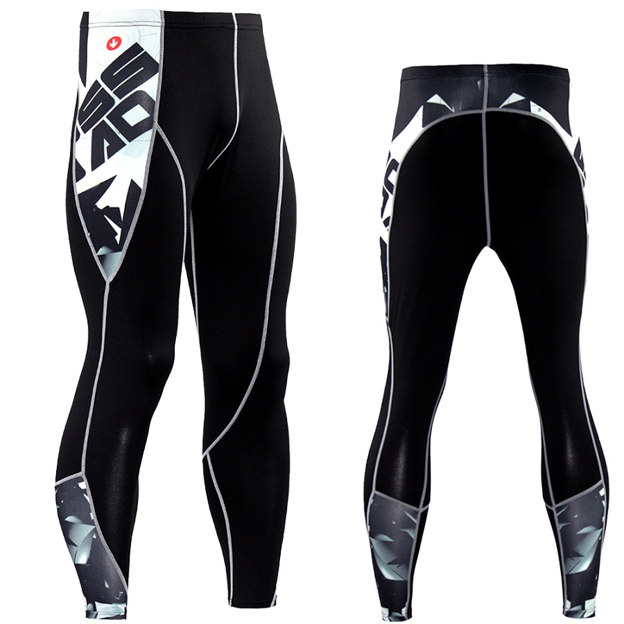 New Jogging Pants Men Fitness Running Tights Mens Compression Pants 3D Print Splice Quick Dry Skinny Leggings Gym Sport Trousers