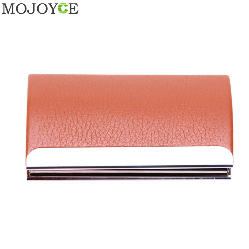Unisex Pocket Business Card Holders Curve Shape PU Leather Card Package Case Stainless Steel Card Case Gift Namecard Cardcase elegant stainless steel pu leather business card storage case golden