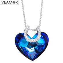 Veamor U Shape Pattern Heart of Ocean Pendant Necklaces Blue Crystal Love Necklace Women Fashion Jewelry Crystals From Swarovski(China)