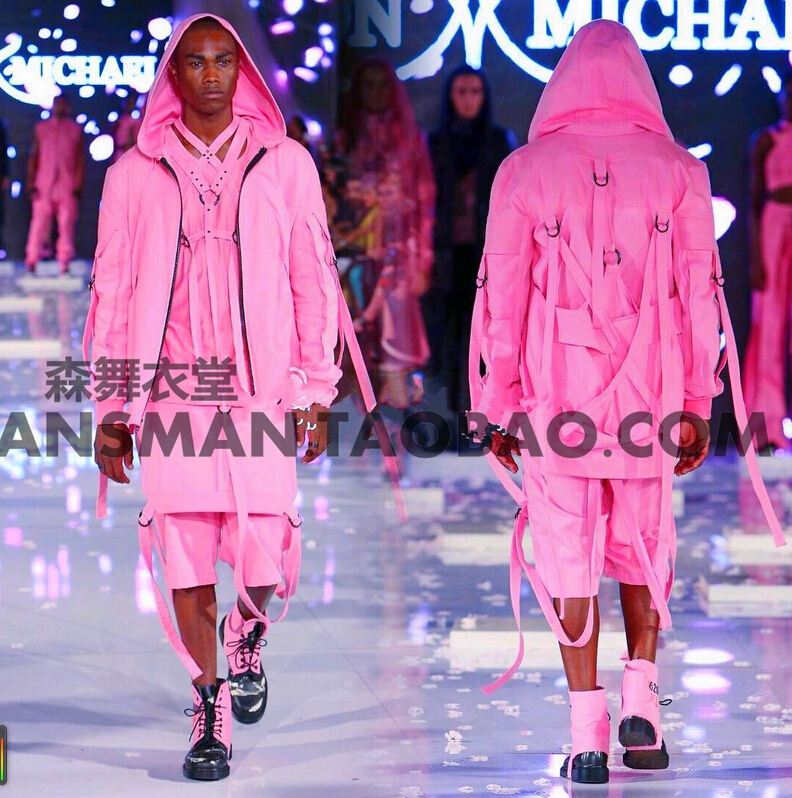 newest brand costumes Men Singers DJ DS beyonce spicy chicken DS with pink straps hip-hop baseball stage uniform coat ! M-3XL
