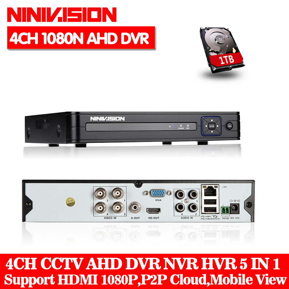 support HDCVI,960H 4Channel HDCVI DVR with 1TB HDD Included Onvif IP Camera