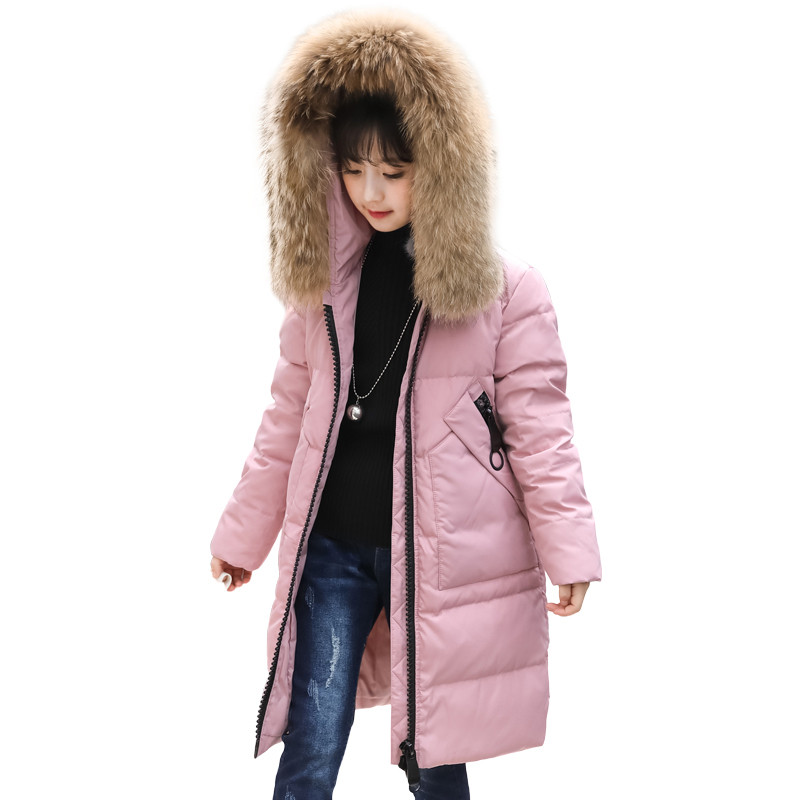 Winter Children Girls Down Long Coat Teenage Kids Warm Thick Real Raccoon Fur Collar Hooded White Duck Down Parka Jackets P02 girls winter coat 30 degree snow wear children parka coat hooded fur collar velvet clothes kids thick warm jackets for girls