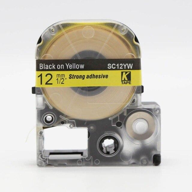 """חמה למכירה 30 יחידות SC12YW CIDY/LC 4YBW LC-4YBW תואם עבור Epson/KingJim LW-300 LW-400 שחור על צהוב 12 קלטות תווית למינציה מ""""מ"""