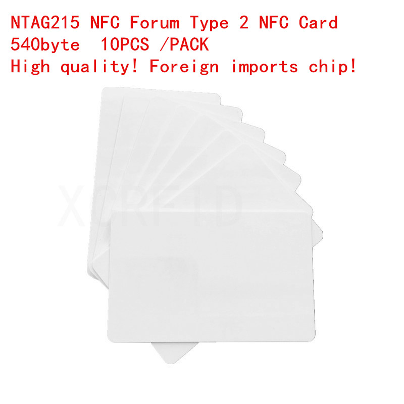 10PCS  Ntag215 NFC Forum Type 2 RFID White Smart NFC Card With 540 Byte For All NFC Mobile Phone Device
