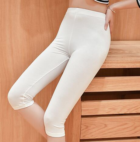 US $10.7 |Jeggings S 7XL Sommer leggings frauen kurze legging hosen dünne feste stretch grau schwarz weiß 6XL 5XL 4XL 3XL in Jeggings S 7XL Sommer