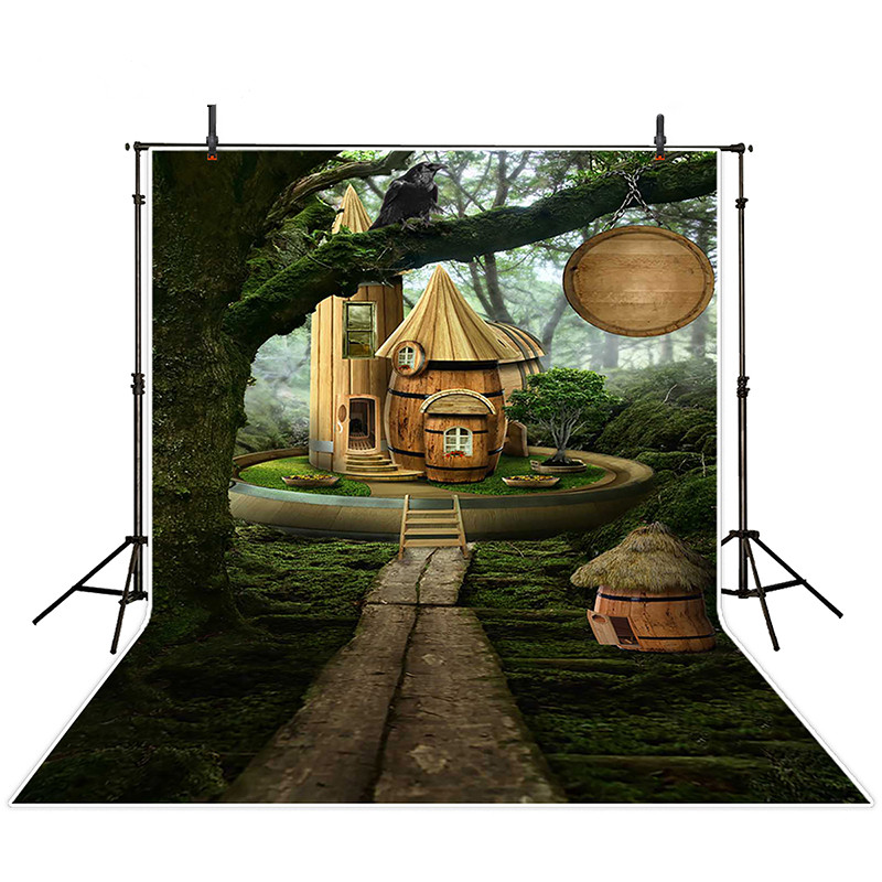 Fairy Tale Wood  House Green Forest hotography Background Newborn 5x7ft  Studio  Backgrounds for Kids Photo Booth fotografia vinyl photography background fairy tale