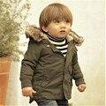 RW-008 envío de la nueva llegada del bebé gruesa Chaqueta Con Capucha caliente del invierno sólido prendas de vestir exteriores de los niños al por menor