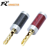 Speaker Banana-Plug Cable Banana-Wire-Connector for 8mm 4pcs/Lot Carbon-Fiber Welding-Free