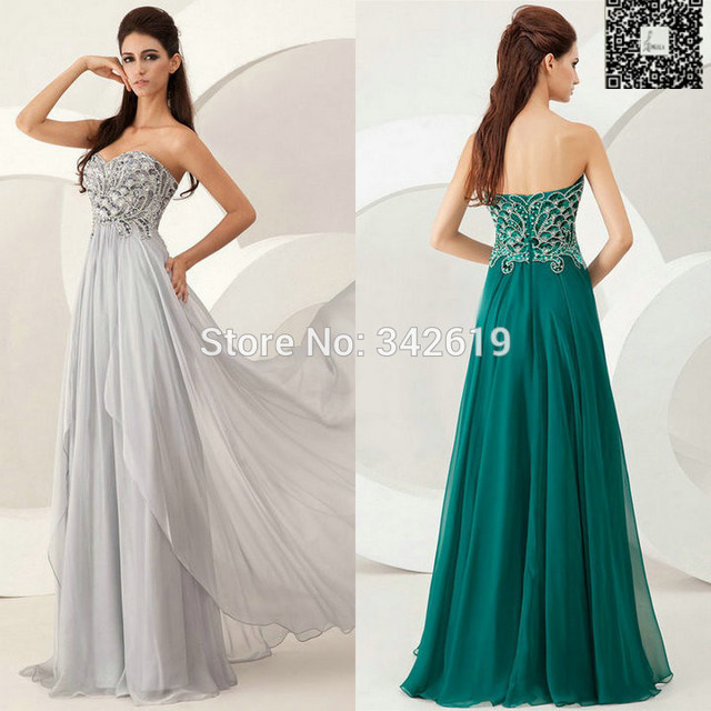 Glamorous A Line Sweetheart Neckline Long Beading Patterns Real Image Evening Dress With Zipper