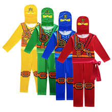 Купить с кэшбэком Ninjago Cosplay Costumes Boys Clothes Sets Superhero Cosplay Boy Ninja Costume Girls Halloween Party Dress Up Streetwear Kids