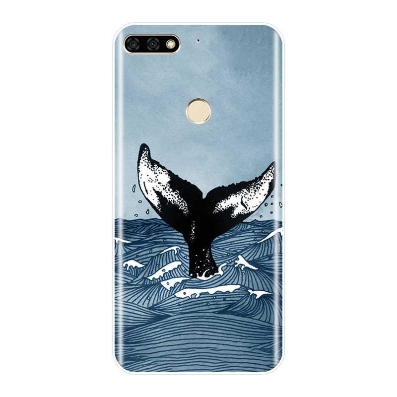 Copertura posteriore Per Huawei Honor 7 7 S 7X 7A 7C Pro 10 9 8 8X MAX Molle Del Silicone Balena pesce Cassa Del Telefono Per Huawei Honor 7 8 9 10 Lite