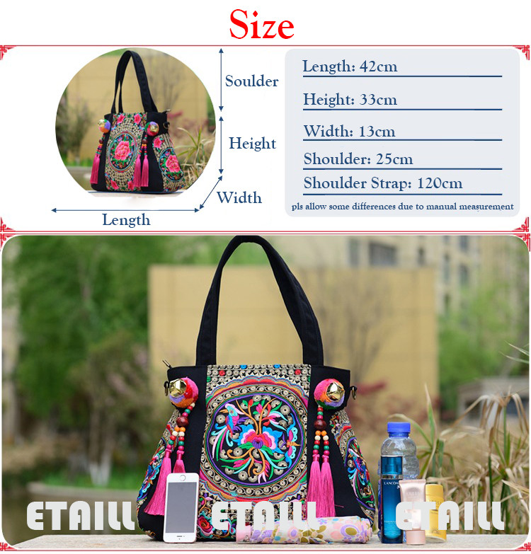 shoulder Lady shopping bags embroidered