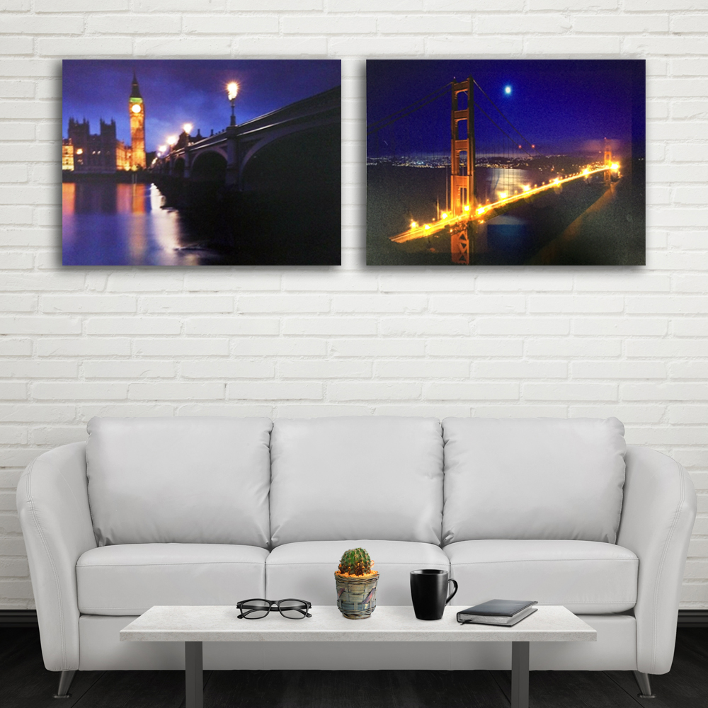 Led canvas art Golden Gate Bridge with Big Ben river moon night wall picture light up decor painting artwork frame print 16x24IN ...