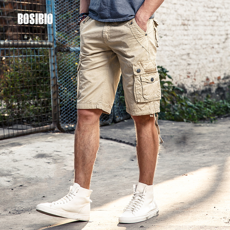 Spring Summer Mens Camo Military Cargo Shorts Work Casual Loose Khaki Solid 100 Cotton Short Pants