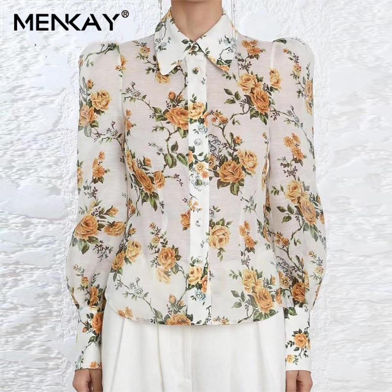 [MENKAY] Vintage jaune imprimé Floral manches longues bouffantes chemise boutonnée femmes ZIM 2019 été plage Blouse femme haut à la mode