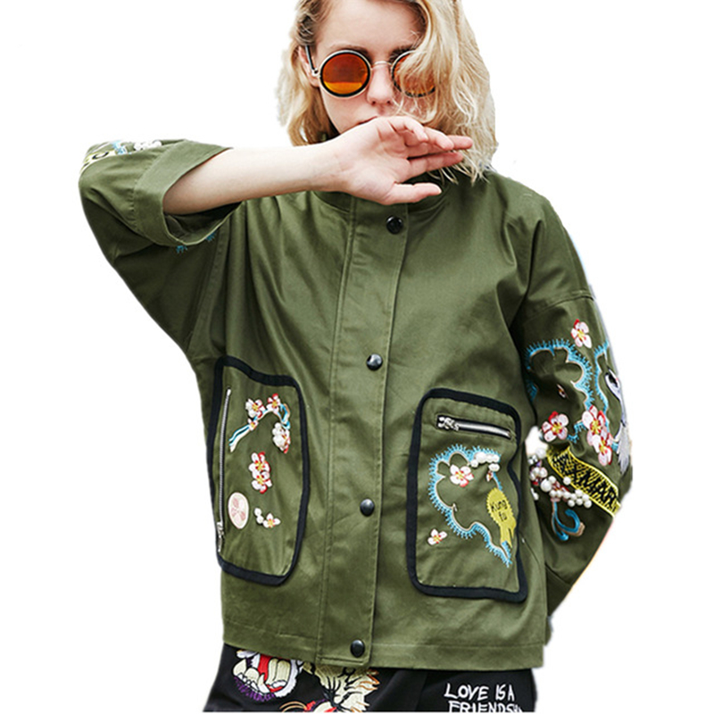 Dames Stand Fleurs Army Lâche Survêtement Collier Green Manteaux Mode À Longues De Automne Femme Manches Broderie Surdimensionnée Vestes Z105 hrQCsxBdto
