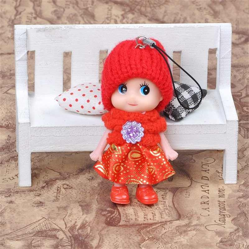 5pcs 8cm Kids Toys Soft Interactive Baby Confused Dolls Toy Keychain For girls and boys Small pendant Christmas gift mix color