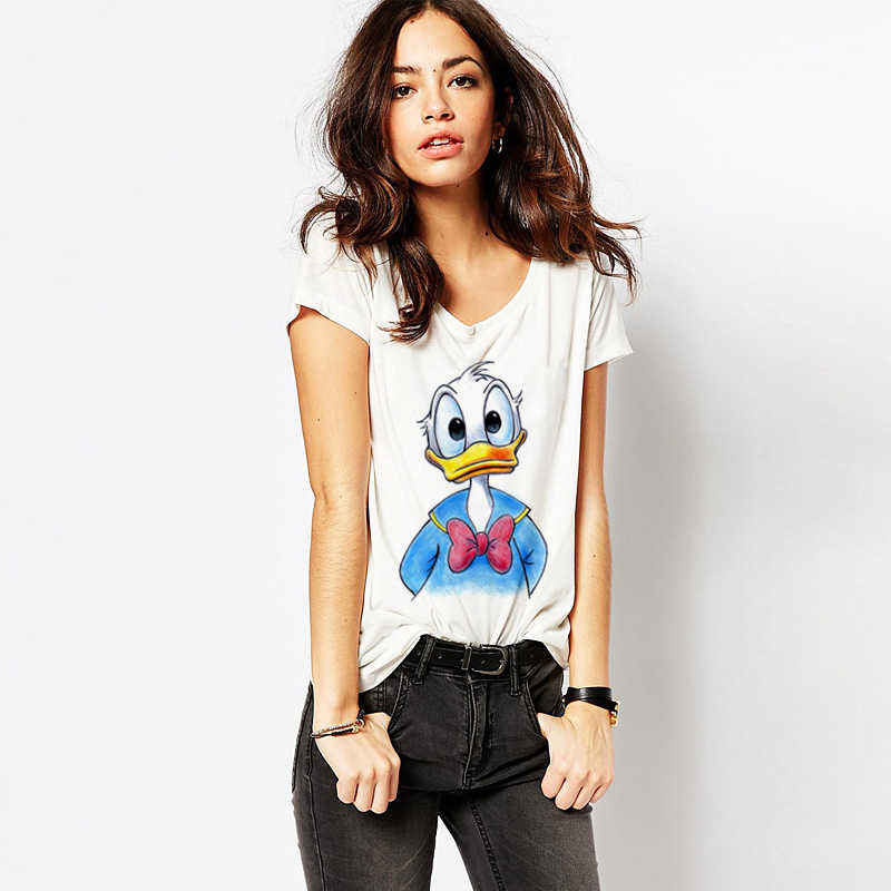 74fec16e ... ZSIIBO 2017 Summer Crayon Cartoon Animal Print T-Shirt Women Loose  Short Sleeve T Shirt ...