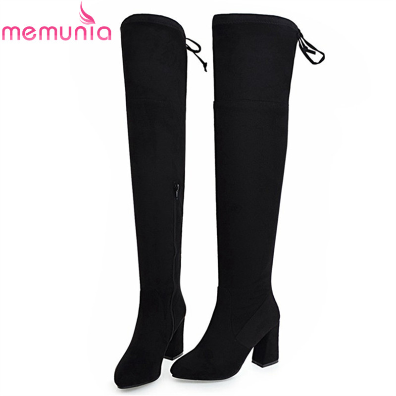 MEMUNIA Over the knee boots for women fashion shoes elegant high heels boots female autumn winter stretch thigh high boots ppnu woman winter nubuck genuine leather over the knee snow boots women fashion womens suede thigh high boots ladies shoes flats