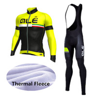 ALE Cycling Set Winter Thermal Fleece Long Sleeves Cycling Jerseys Ropa Ciclismo Bicycle MTB Bike Cycling Clothing 9D Gel Pad