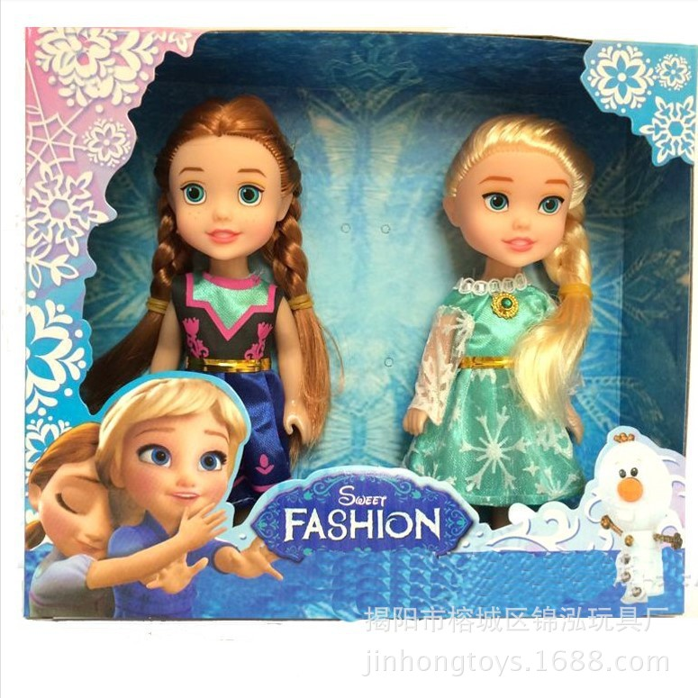 Cute 2pcs set Kids Baby Toys Snow And Ice Princess Elsa Anna Dolls Toys font b