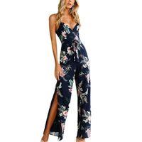 Fashion Women Backless Sleeveless Jumpsuit Polyester V Neck Floral Printed Navy Jumpsuit Sling Split Loose Romper