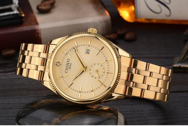 Chenxi złoty zegarek męskie zegarki top marka luksusowe znani zegarek męskie złoty zegarek kwarcowy kalendarz zegar relogio masculino 6