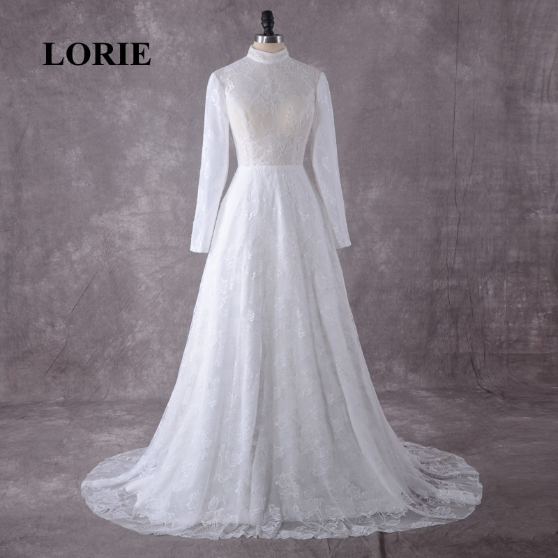 LORIE Wedding Dress Long Sleeve High Neck Lace Arabic Muslim Wedding Gowns With a Small Train